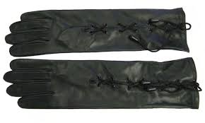 men women long soft black real lamb skin leather corset lace up elbow gloves size 7