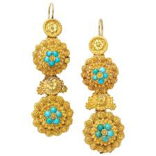 antique early victorian turquoise and gold chandelier earrings