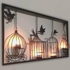 birdcage tea light wall art metal wall hanging candle holder black
