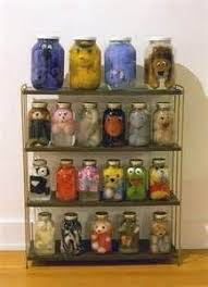 When you get too old for your stuffed animals just preserve them for a  creepy awesome Halloween decoration! (Use up old pickle jars!