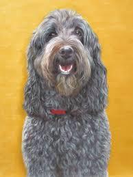 dog portrait oil paint gold background