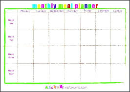 monthly meal planner template meal planning calendar template printable monthly meal planner