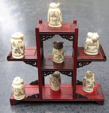 Netsuke Display Stand 100 Bone Netsuke On A Wooden Display Stand China Late 100th 60