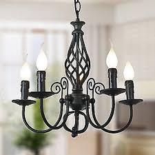 wrought iron 5 light black chandelier light fixture