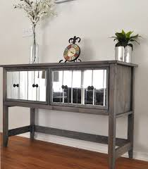 distressed mirrored furniture. Mirrored Buffet Console Table Sideboard Furniture Tall Grey Distressed Sidboard With Two D