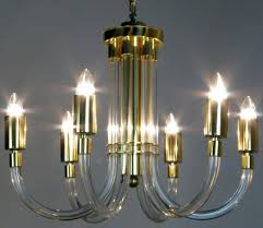 peter hamburger brass and acrylic six arm chandelier for at