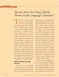 ideas for using mobile phones in language classroom  twenty ideas for using mobile