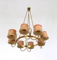 vintage italian brass chandelier with 8 lights 1940s 2
