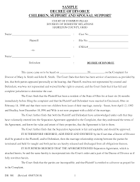 Example Of Divorce Decree Best Photos of Example Of Divorce Forms Divorce Papers Sample Form 1