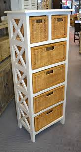 white storage unit wicker: white mahogany wood and wicker tall basket storage unit wxdxh