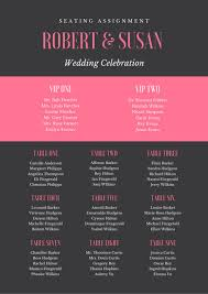 Black And Pink Simple Wedding Seating Chart Templates By Canva