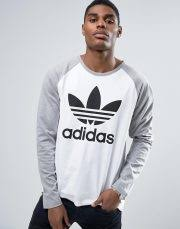 adidas 83 c t shirt. adidas originals longsleeved t-shirt with trefoil logo in grey bk7628 / 83 c t shirt