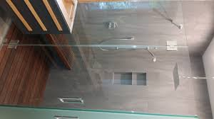 we can create incredible frameless shower doors as long as we can make the physics work with the proper pre planning from our design and layout consulting