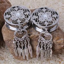 Dream Catcher Tunnels DreamCatcher Dangle Screw Back Plug 100L Stainless Steel Ear Gauge 13