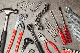diy tools set with diffe types of wrenches hammer and pliers stock photo colourbox
