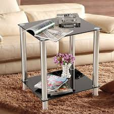 Small Table Display Stands Black Square Glass Coffee Table Side End Lamp Table 100Tiers Small 48