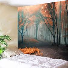 misty forest wall hanging tapestry for bedroom colormix w51 inch l59 inch