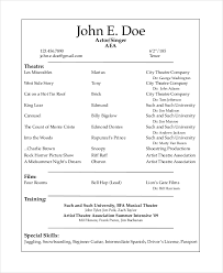 Acting Resume Template Free Event Staff Sample Theater Musical