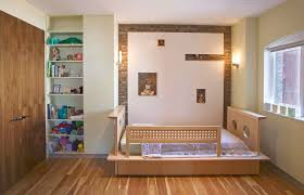 wall design ideas medium size bedroom boy toddler room ideas with open shelves and exposed brick