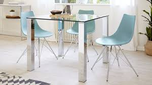 square glass dining table for 4 chrome legs danetti uk