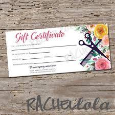 Printable Gift Certificate Templates Custom Hair Salon Watercolor Floral Printable Gift Certificate