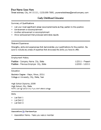 ... Examples Of And Curriculum Early Childhood Education Resume 12 ...