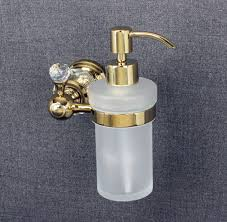 Luxury Crystal Wall Mounted Liquid Soap Dispenser With Gold Finish
