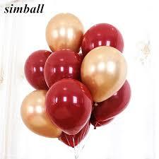 10pcs Ruby Red Balloon New <b>Glossy Metal Pearl</b> Latex Balloons ...