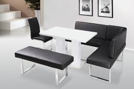 Now White Kitchen Table With Bench Band Vg Modern Gloss Dining Black