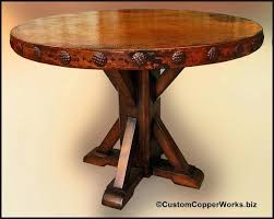 wood pedestal table base round copper dining table copper top dining table mounted on rustic wood