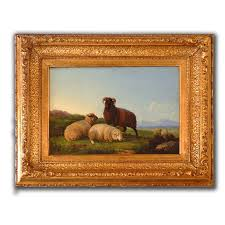 sheep oil painting on board in antique gilt frame