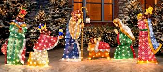This nativity set stands over 5-ft tall and almost 6-ft wide so be sure you have ample space in your yard to display it correctly. Nativity Scene Christmas Decorations