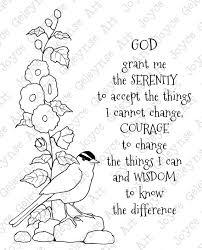 Digi Stamp Clip Art Coloring Page Or Card Serenity Prayer Bird
