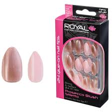 Royal Umělé Nalepovací Nehty Rose Gold A Růžové Glue Nail Tips Prosecco Blush Stiletto 24ks S 3g Lepidlem