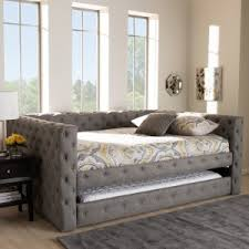 Baxton Studio Anabella Modern and Contemporary Upholstered Daybed with Trundle Double / Full Size Daybeds | Hayneedle