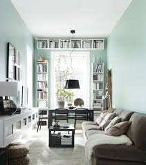 ... Long Narrow Living · Narrow Living Room With Desk And Bookshelves At  The Window Rectangular Living Room Layout Ideas ...