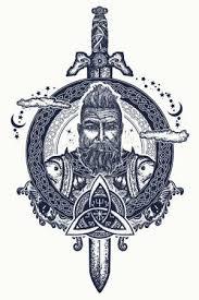 Vektorová Grafika Viking Tetování A Tričko Design Vousatý Barbar