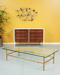 mid century faux bamboo coffee table w glass top by vintagesupplyla