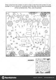 Wintervakantie Thema Verbind Stippen Afbeeldingspuzzel Kleurplaat