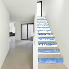 13pcs set diy blue wave 3d picture fall floor wall decor decals sticker home decoration