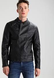guess urban biker black leather jackets for men