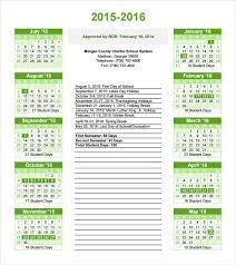 School Calendar Template 2015 2020 Free 18 School Calendar Templates In Free Samples Examples