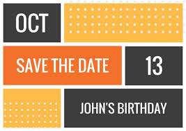 Save The Date Postcards Templates Orange Blocks With Dots Bold Birthday Save The Date Postcard