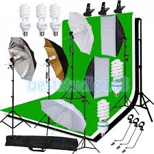 continuous photog studio softbox umbrella lighting backdrop stand bulb kit