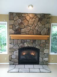 Bucks County Dressed Fieldstone By Boral Cultured Stone With Wood. Fireplace  ...