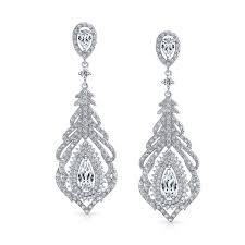 bridal dazzle clip ons add your review bling jewelry bridal rhodium plated brass cz chandelier clip on earrings