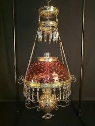 cranberry hobnail hanging library lamp crystal faceted prisms original kerosene oil condition fancy embossed yellow brass frame circa 1880