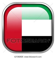 Stock Illustration Of United Arab Emirates Flag Square Glossy Button