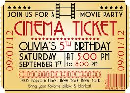 Invitation Ticket Template Birthday Invites Best Movie Party Invitations On Printable Ticket 81