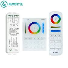 2019 milight wireless ls2 5in1 smart led controller b8 wall mounted touch panel control rgb cct led strip 8 zone rf remote controller from grege